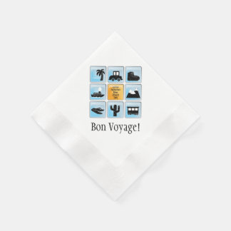 Customizable Travel Icons Bon Voyage Coined Cocktail Napkin