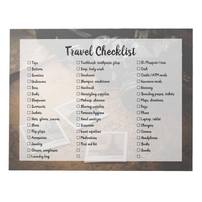 Customizable Travel Packing List Checklist Notepad Zazzle Com