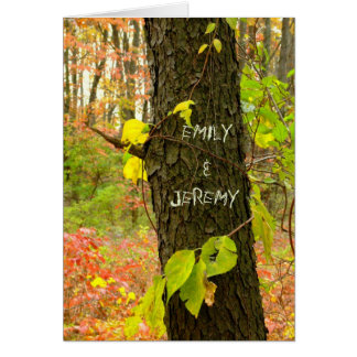 """CUSTOMIZABLE//TREE WITH """"CARVED"""" NAMES/FALL LEAVES CARD"""