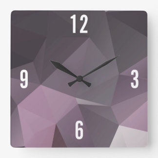 Customizable Triangles in Black & Violet Hues Square Wall Clock