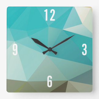 Customizable Triangles in Blue & Green Hues Square Wall Clock