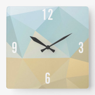 Customizable Triangles in Brown & Blue Pastel Hues Square Wall Clock