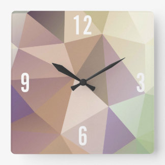 Customizable Triangles in Brown & Green Hues Square Wall Clock
