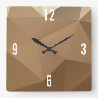 Customizable Triangles in Brown Hues Square Wall Clock