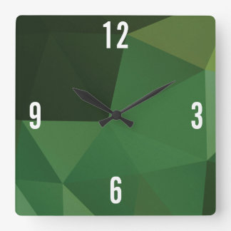 Customizable Triangles in Green Hues Square Wall Clock