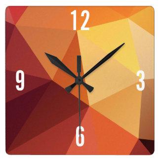 Customizable Triangles in Orange Hues Square Wall Clock