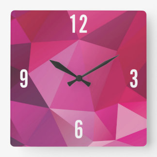 Customizable Triangles in Pink & Violet Hues Square Wall Clock