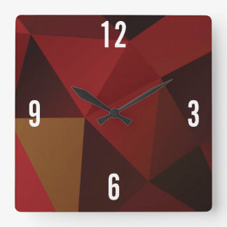 Customizable Triangles in Red Hues Square Wall Clock