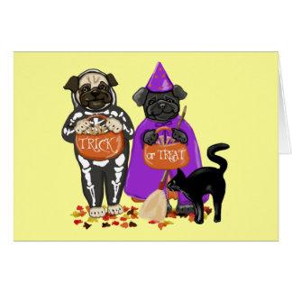 Customizable Trick or Treat Halloween Pugs Cards
