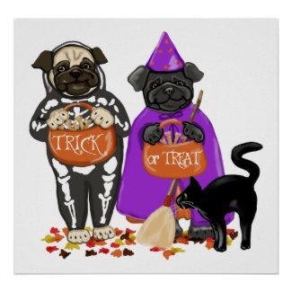 Customizable Trick or Treat Halloween Pugs Posters print