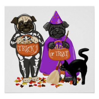 Customizable Trick or Treat Halloween Pugs Posters