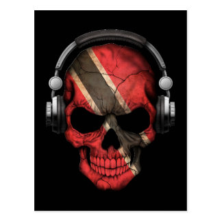 Customizable Trinidadian Dj Skull with Headphones Postcard