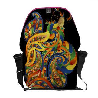Customizable Tropical Paisley Bird Rickshaw Messenger Bags