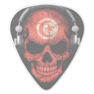 Customizable Tunisian Dj Skull with Headphones White Delrin Guitar Pick