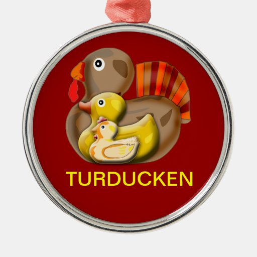 Customizable Turducken Design Round Metal Christmas Ornament