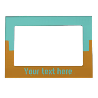 Customizable Turquoise and Mustard Magnetic Picture Frame
