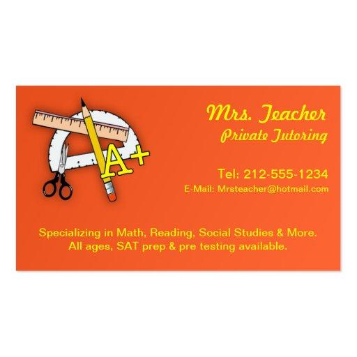 CUSTOMIZABLE Tutor Business Cards