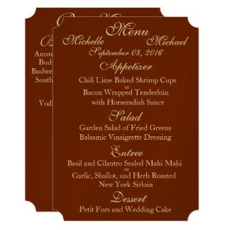 Customizable Two Sided WEDDING MENU Card
