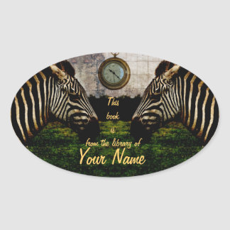 customizable two zebras library sticker plate