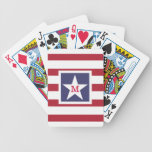 Customizable U.S.A. Flag Monogram Bicycle Playing Cards
