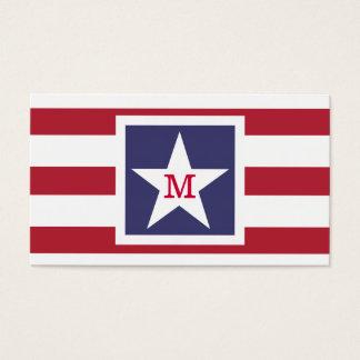 Customizable U.S.A. Flag Monogram Business Card