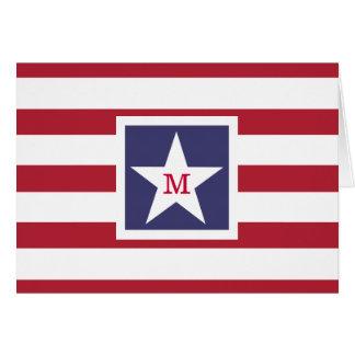 Customizable U.S.A. Flag Monogram Card