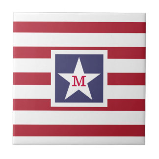 Customizable U.S.A. Flag Monogram Ceramic Tile