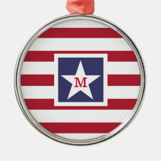 Customizable U.S.A. Flag Monogram Metal Ornament