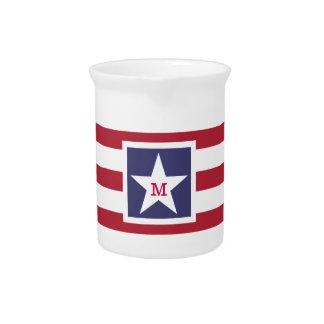Customizable U.S.A. Flag Monogram Pitcher
