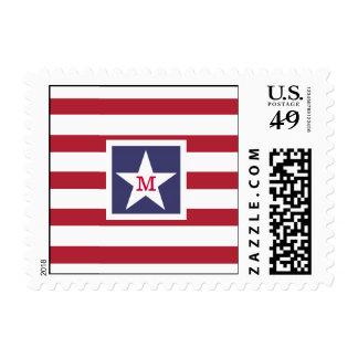 Customizable U.S.A. Flag Monogram Postage Stamp