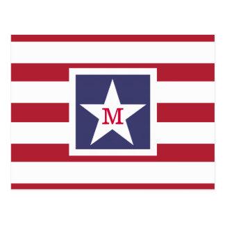 Customizable U.S.A. Flag Monogram Postcard