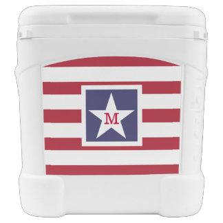 Customizable U.S.A. Flag Monogram Rolling Cooler