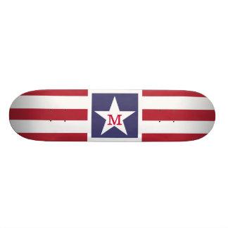Customizable U.S.A. Flag Monogram Skateboard