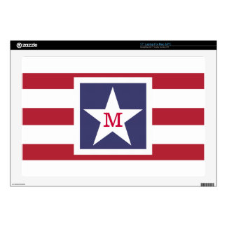 "Customizable U.S.A. Flag Monogram Skin For 17"" Laptop"