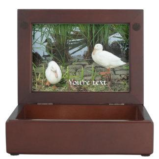 Customizable unique ducks at a lake memory boxes