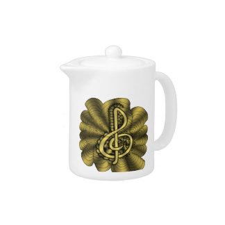 Customizable Unique Music Gold Art Teapot