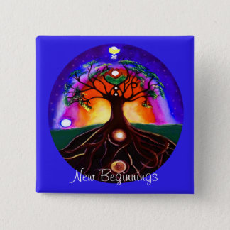 Customizable unique painted tree of life pinback button