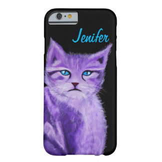 Customizable unique purple cat with blue eyes barely there iPhone 6 case