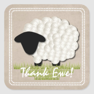 Customizable Unisex Little Lamb Thank You Stickers