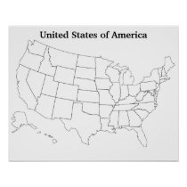 Customizable United States Blank Outline Map Poster
