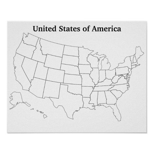 Customizable United States Blank Outline Map Poster Zazzle Com