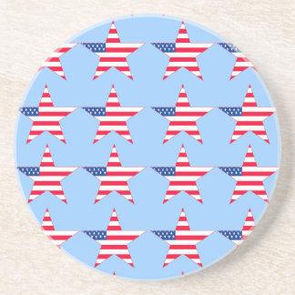 Customizable US Flag Stars Drink Coasters