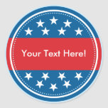 Customizable USA Flag Seal - Blue Round Sticker