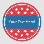 Customizable USA Flag Seal - Red Classic Round Sticker