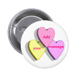 Customizable Valentine Candy Hearts Look Custom 2 Inch Round Button
