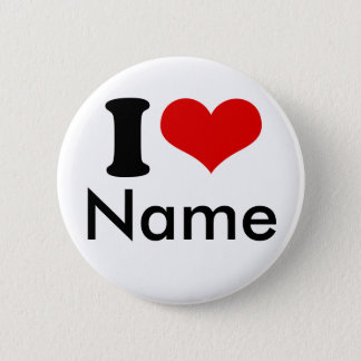 Customizable Valentines Day I love Heart Custom Button