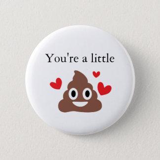 Customizable Valentines Poo Emoji Pinback Button