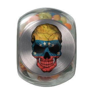 Customizable Venezuelan Flag Skull Glass Candy Jars