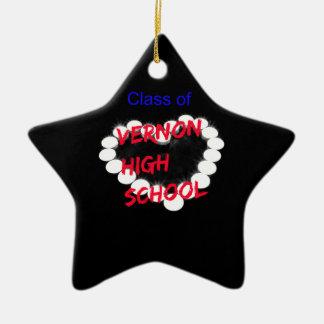 Customizable Vernon High School Candle Heart Ceramic Ornament