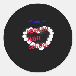 Customizable Vernon High School Candle Heart Classic Round Sticker